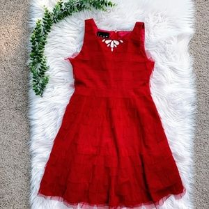 Red Bejeweled Tulle Dress Girls 12 Biscotti